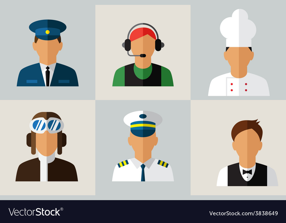Set flat icons with man of different professions vector | Price: 1 Credit (USD $1)