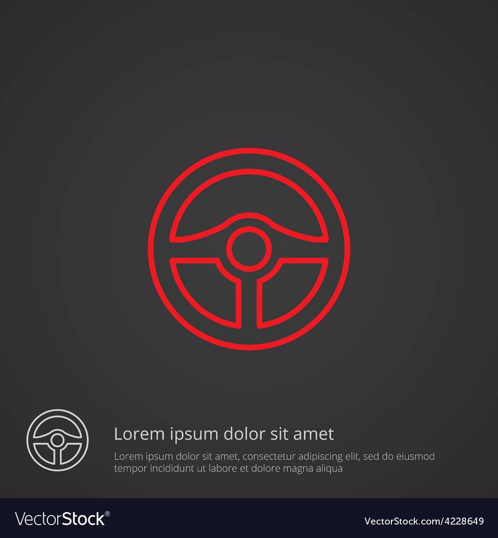 Steering wheel outline symbol red on dark vector | Price: 1 Credit (USD $1)