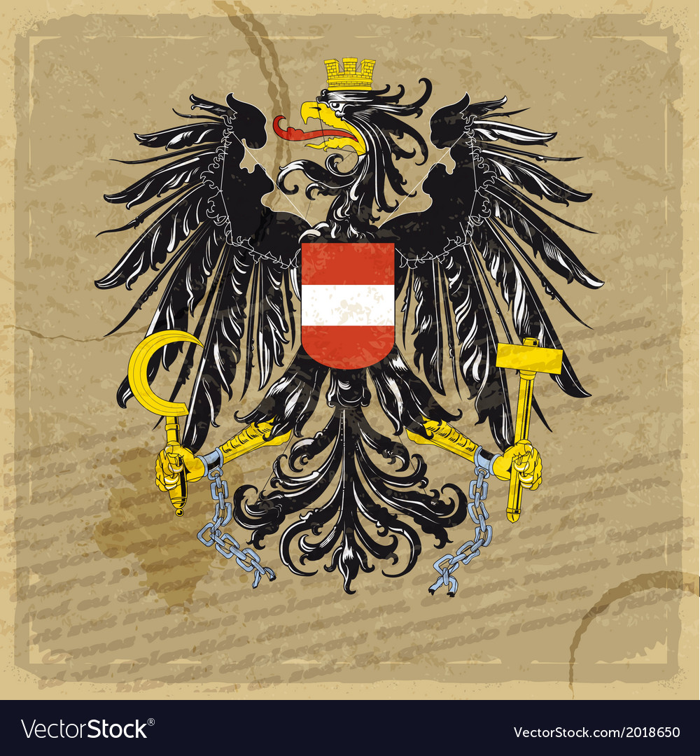 Austria coat of arms on an old sheet of paper vector | Price: 1 Credit (USD $1)