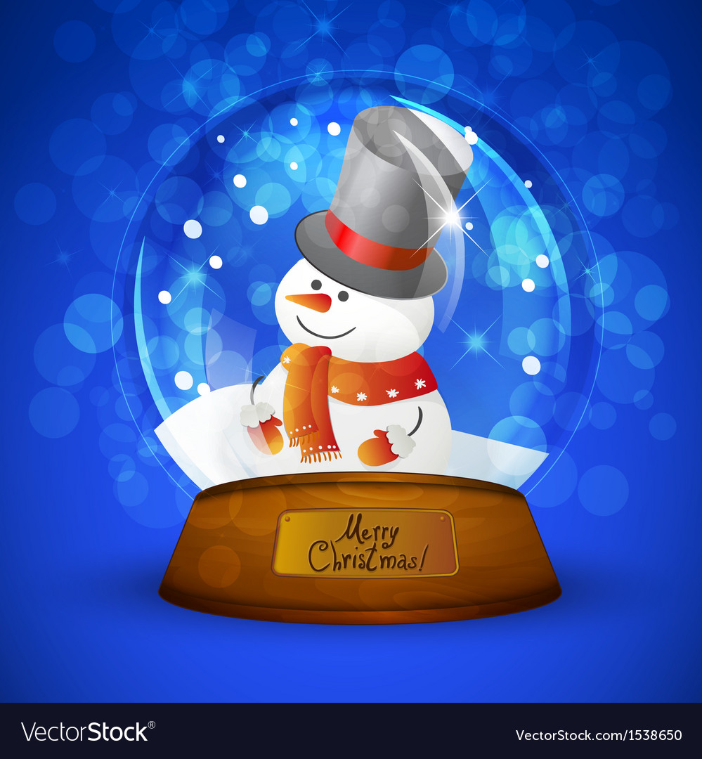 Christmas snow globe with snowman vector | Price: 1 Credit (USD $1)