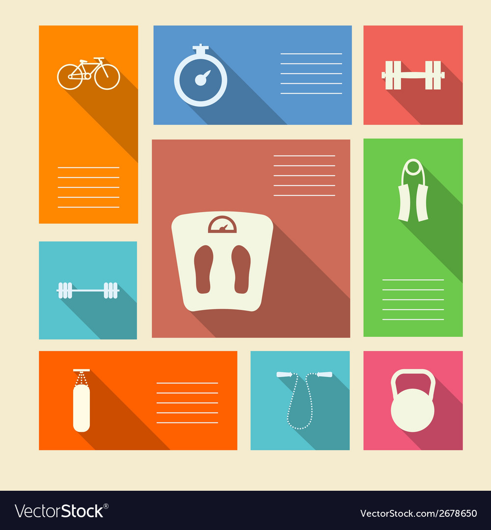 Colored icons for sport with place for text vector | Price: 1 Credit (USD $1)
