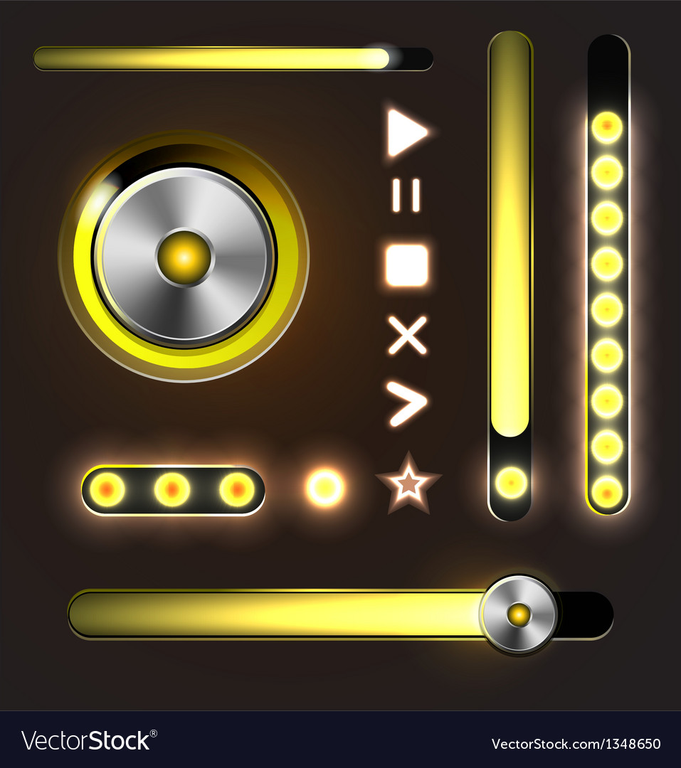 Equalizer and player metal buttons with track bar vector | Price: 1 Credit (USD $1)