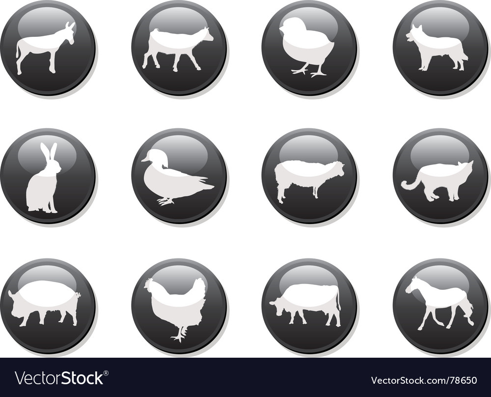 Farm animals buttons vector | Price: 1 Credit (USD $1)