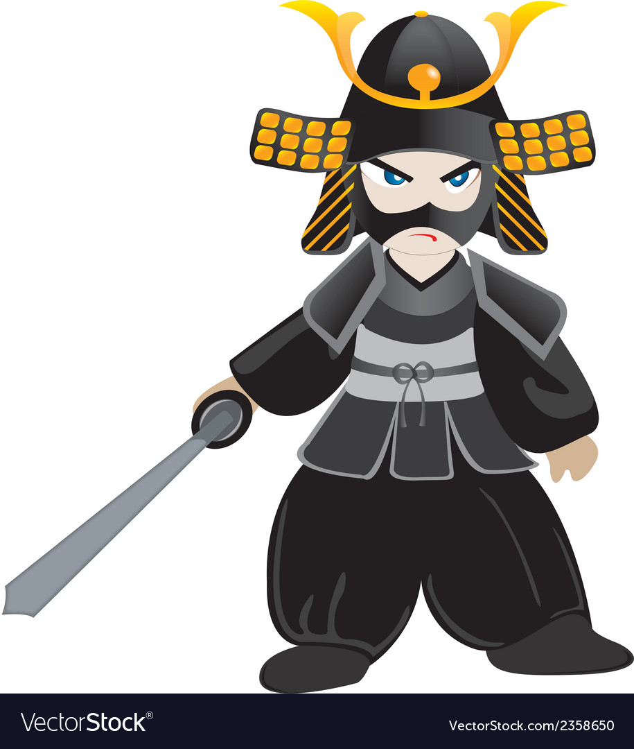 Little samurai cartoon vector | Price: 1 Credit (USD $1)