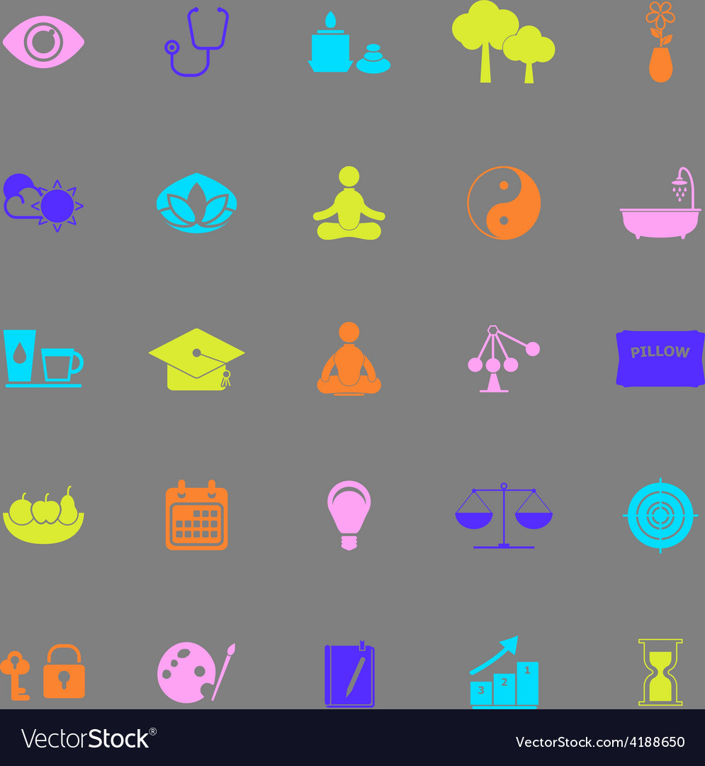 Meditation color icons on gray background vector | Price: 1 Credit (USD $1)