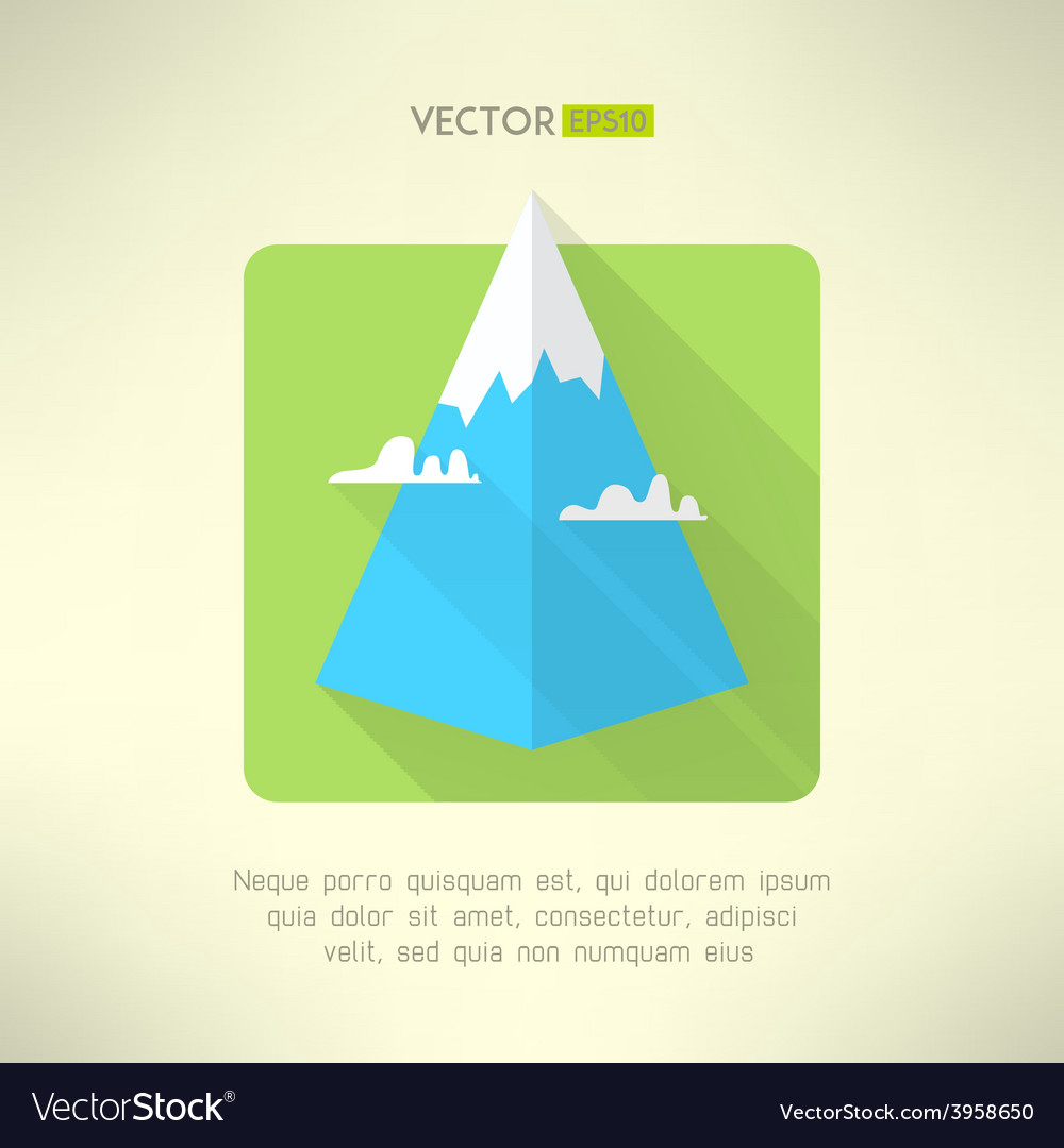 Mountain icon with clouds made in modern flat vector | Price: 1 Credit (USD $1)