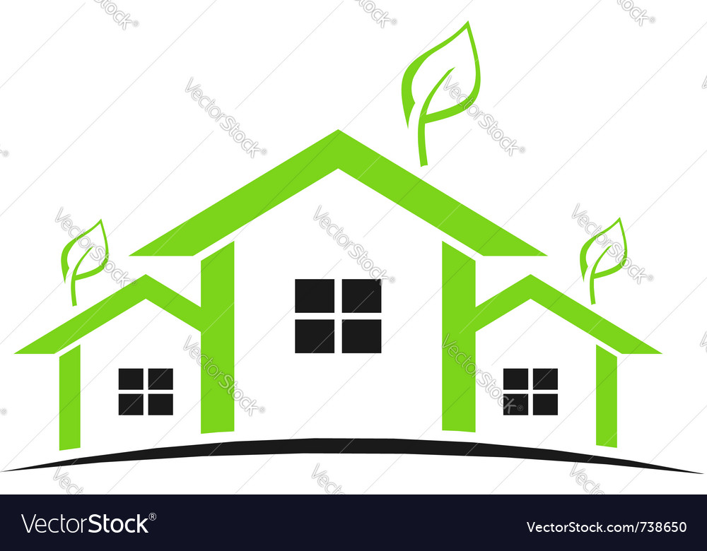 Three green houses vector | Price: 1 Credit (USD $1)