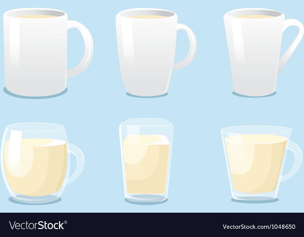 White mugs and glass mugs vector   Price: 1 Credit (USD $1)