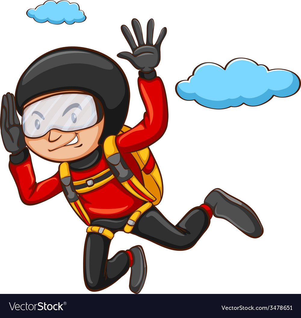 A young boy skydiving vector | Price: 1 Credit (USD $1)