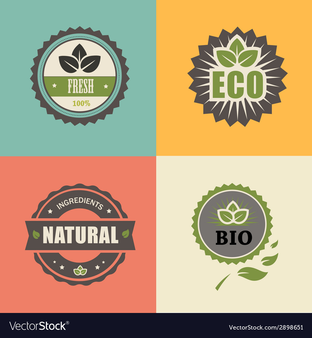 Bio stamp eco organic labels collection vector | Price: 1 Credit (USD $1)