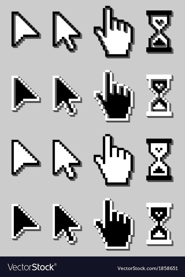 Cursor icon set mouse hand arrow hourglass vector | Price: 1 Credit (USD $1)