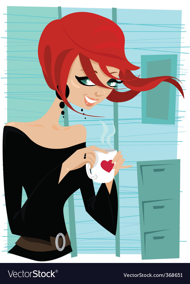 Girl drinking coffee vector | Price: 3 Credit (USD $3)