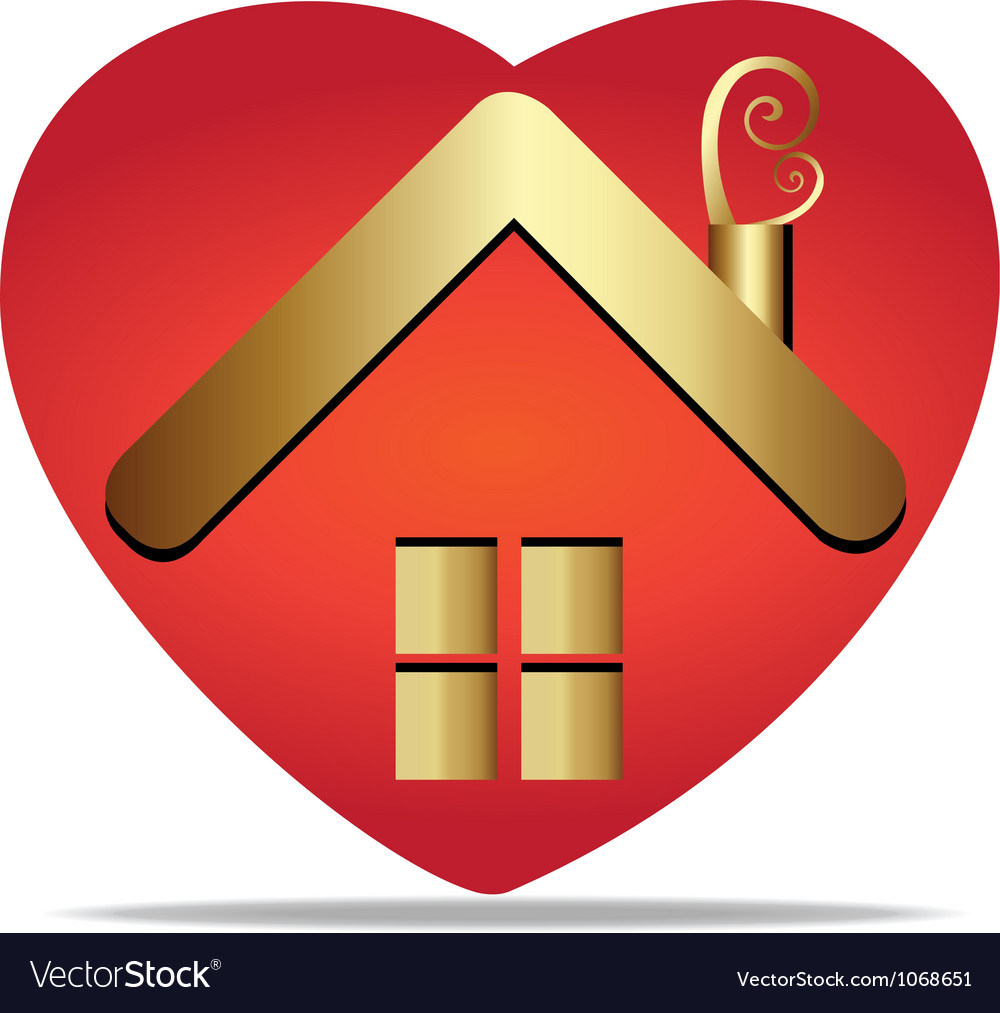 House and heart symbol logo vector | Price: 1 Credit (USD $1)