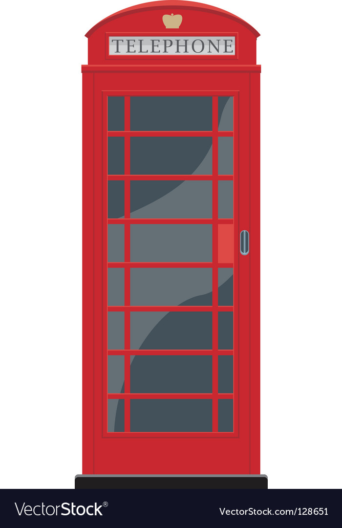Red telephone booth in london vector