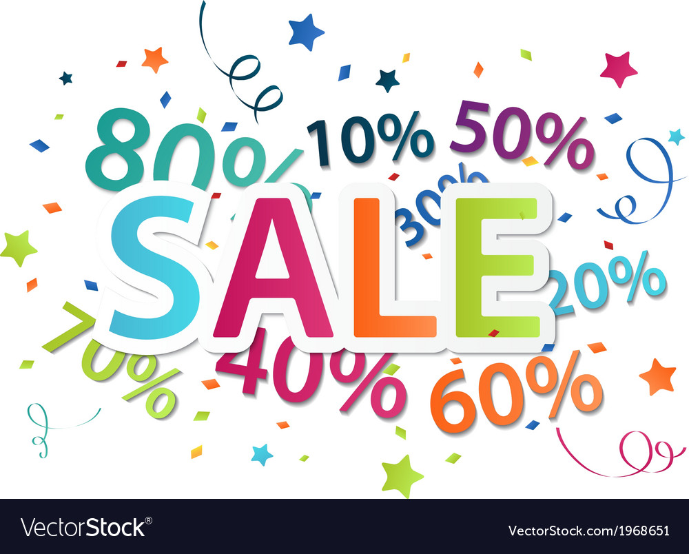 Sale celebration with percent discount vector | Price: 1 Credit (USD $1)