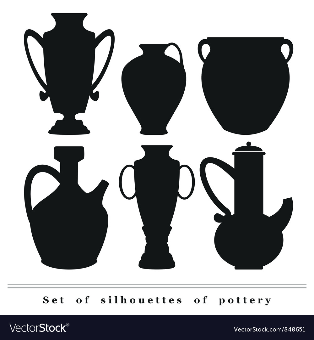 Set of silhouettes of antique ceramic ware pottery vector | Price: 1 Credit (USD $1)