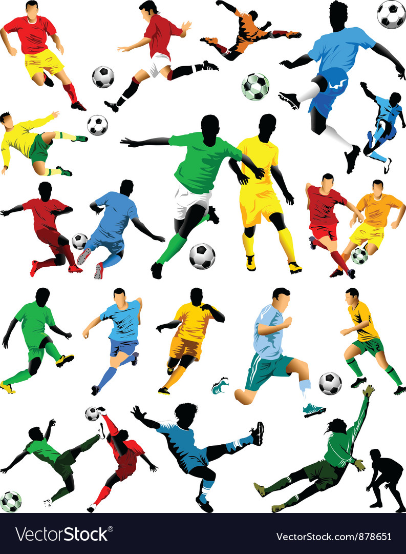 Soccer players sihouettes vector | Price: 1 Credit (USD $1)