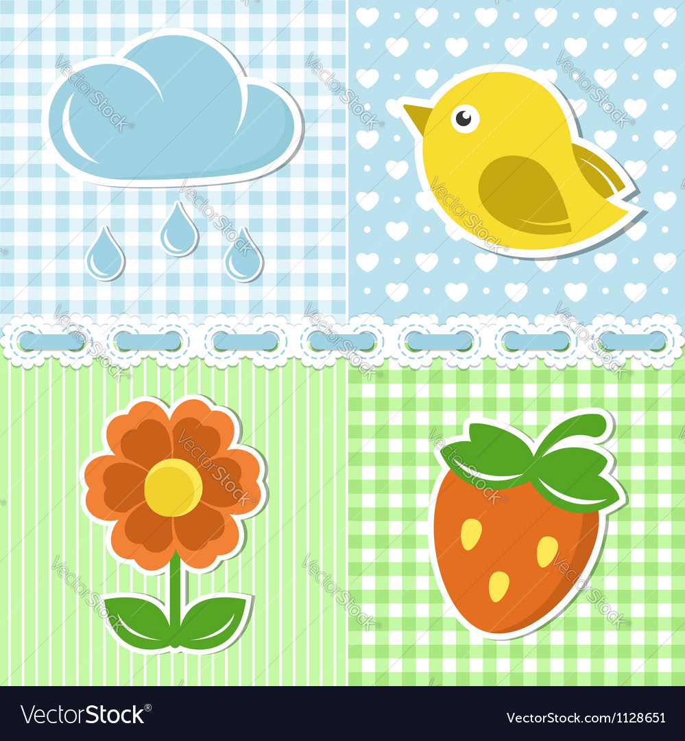 Summer icons of flower strawberry cloud and bird vector | Price:  Credit (USD $)