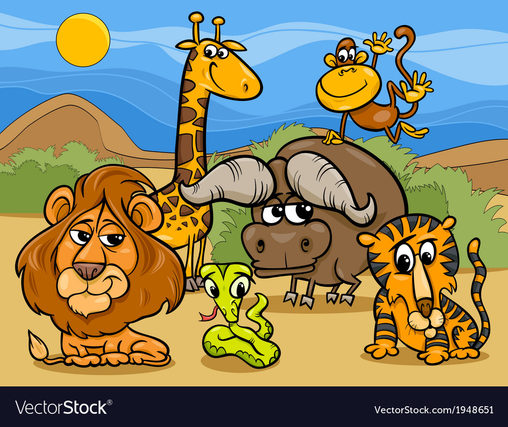 Wild animals group cartoon vector | Price: 1 Credit (USD $1)