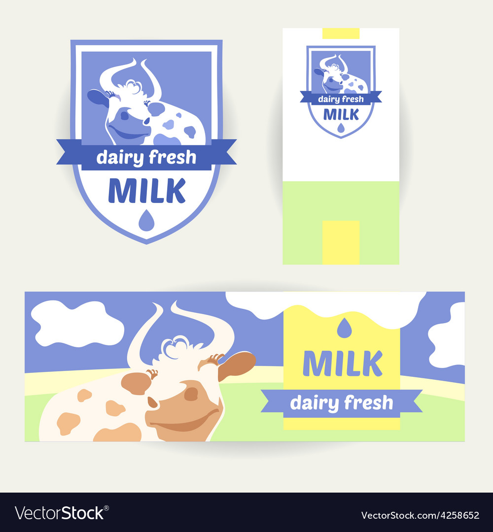 A set of promotional items for dairy products vector | Price: 1 Credit (USD $1)