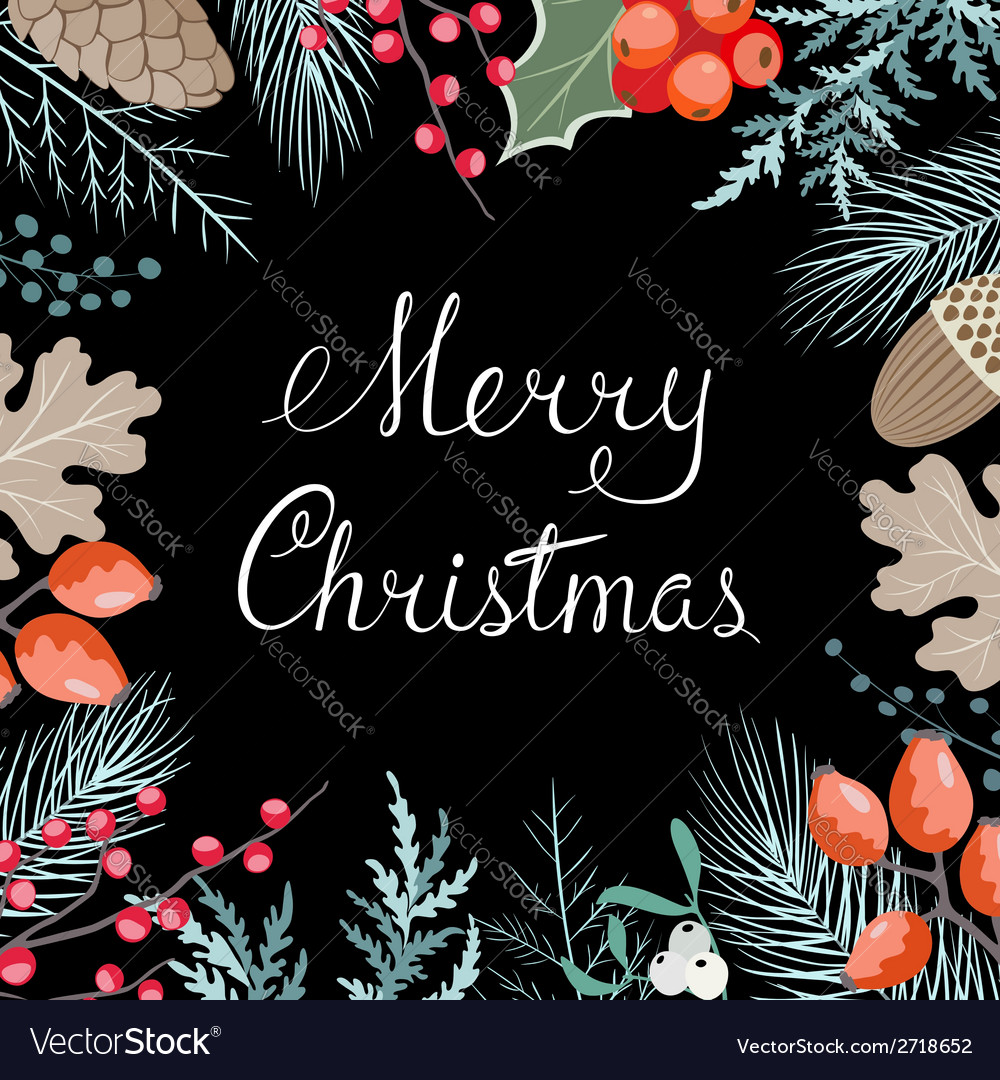 Christmas floral card vector | Price: 1 Credit (USD $1)