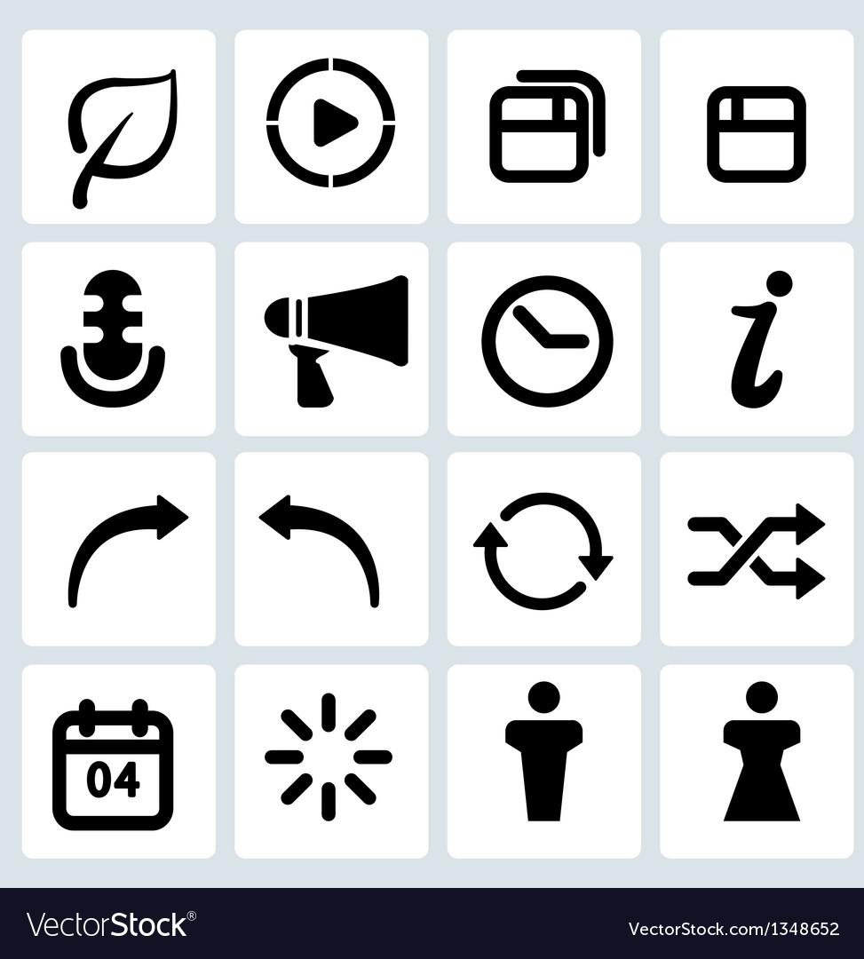 Clean black web icons set 5 vector   Price: 1 Credit (USD $1)
