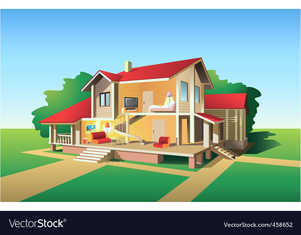 Country house plan vector | Price: 3 Credit (USD $3)