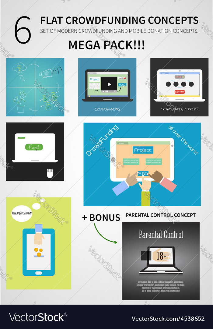 Crowdfunding concept set in flat design - vector | Price: 1 Credit (USD $1)