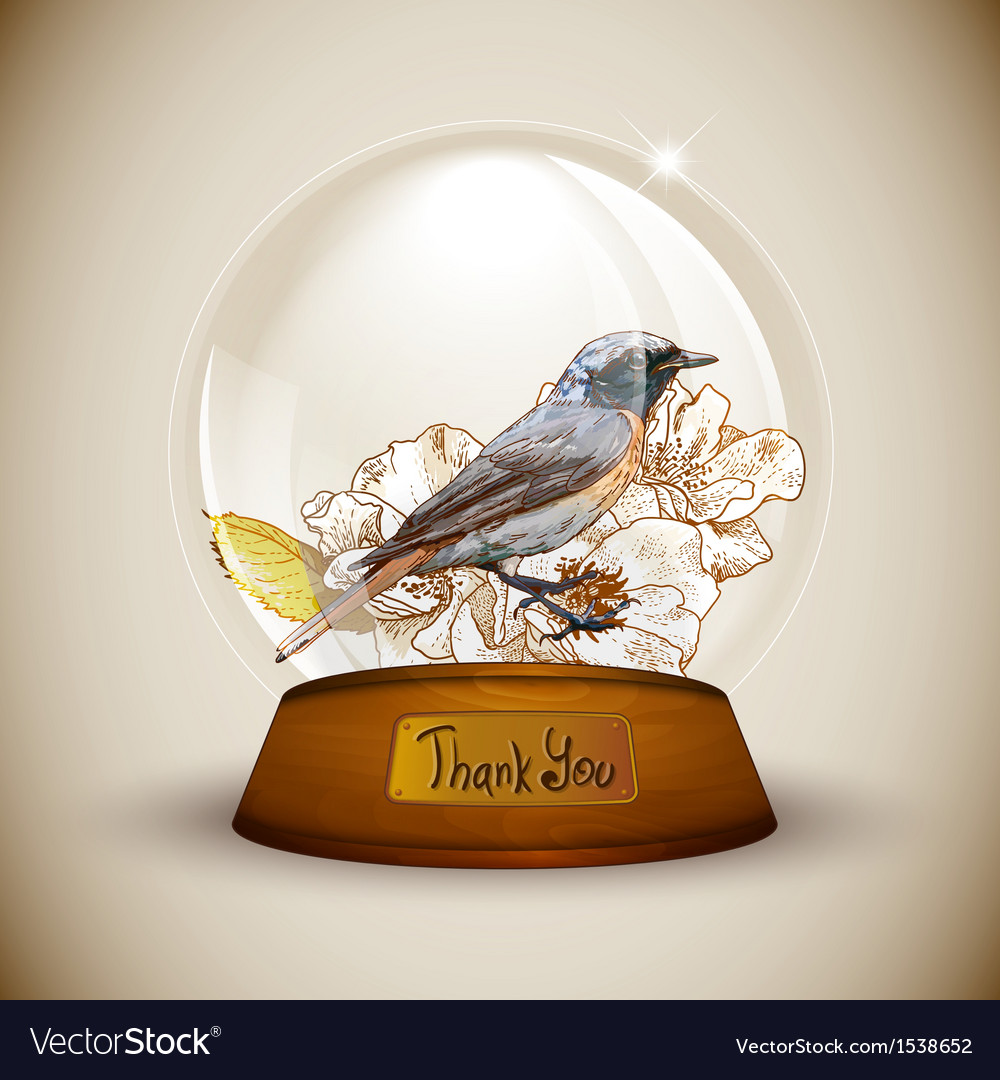Crystal globe with flower and bird vector | Price: 1 Credit (USD $1)