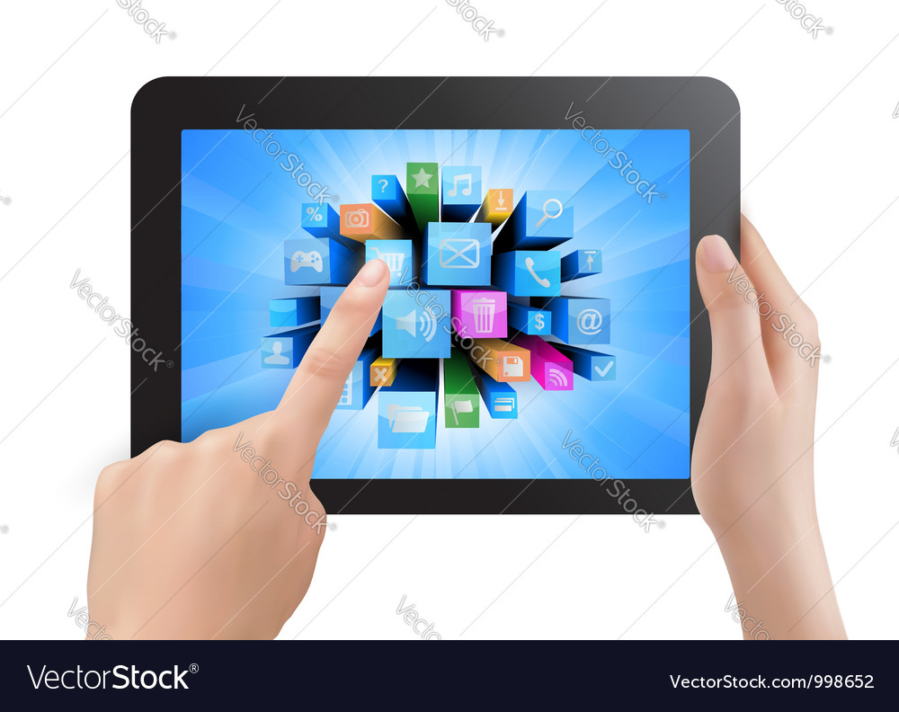 Hand holding touch pad pc and finger touching its vector   Price: 1 Credit (USD $1)