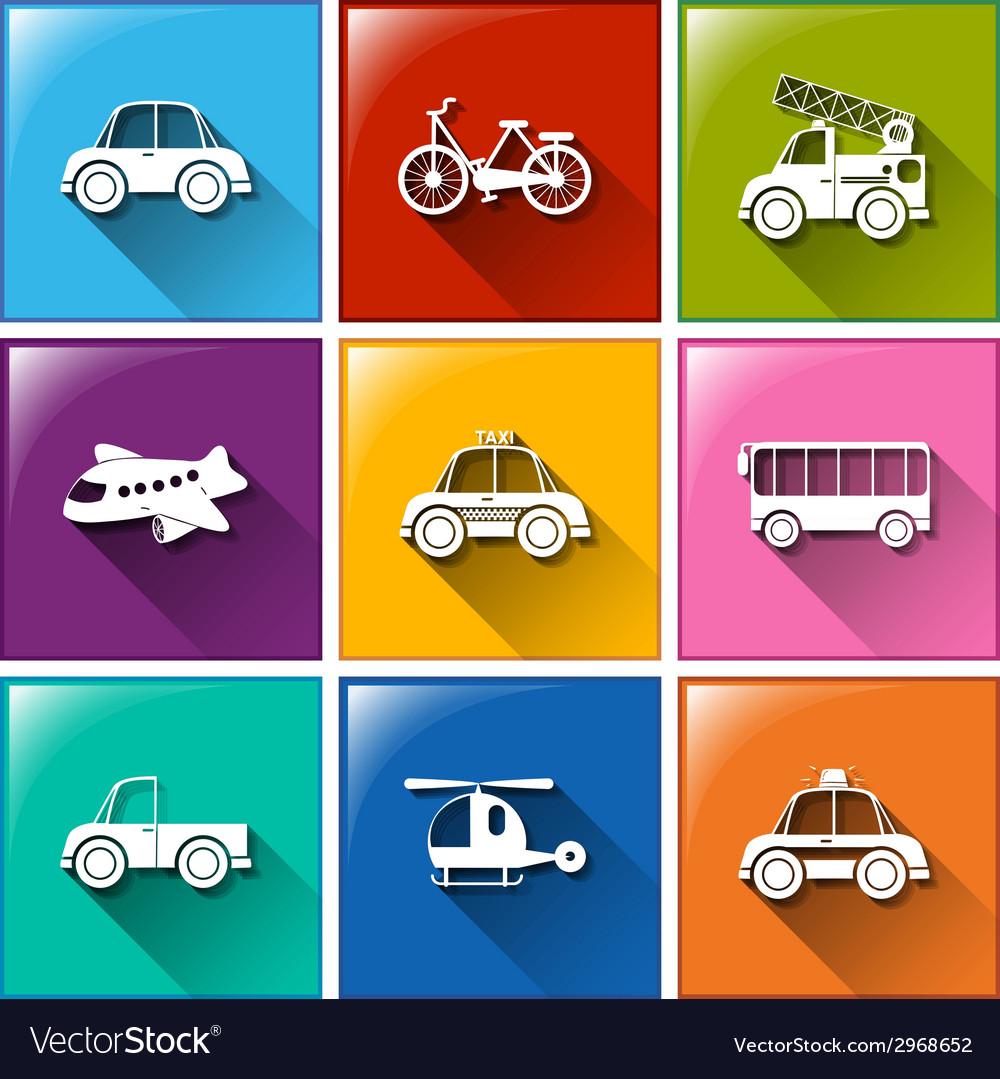 Icons with the different transportations vector | Price: 1 Credit (USD $1)