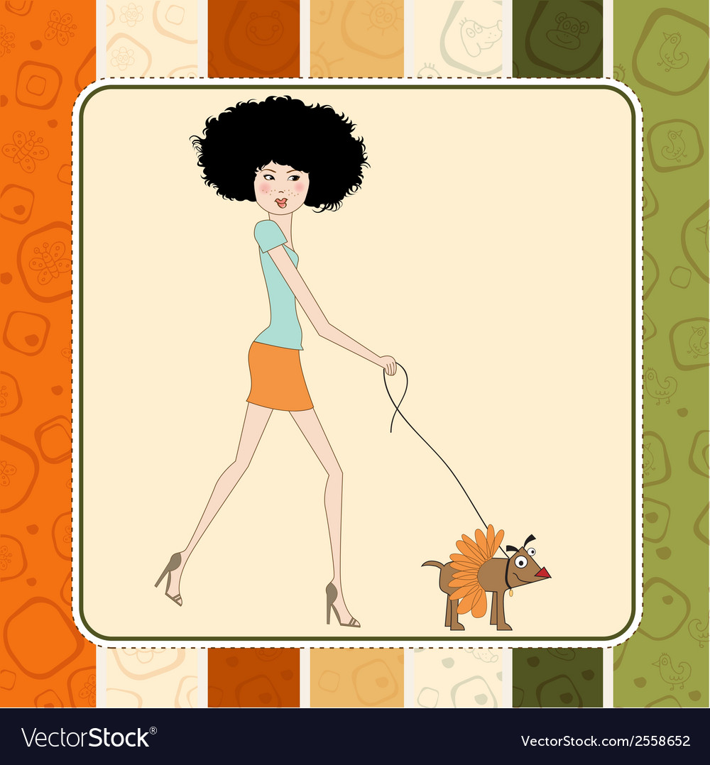Pretty young lady with her dog dressed vector | Price: 1 Credit (USD $1)