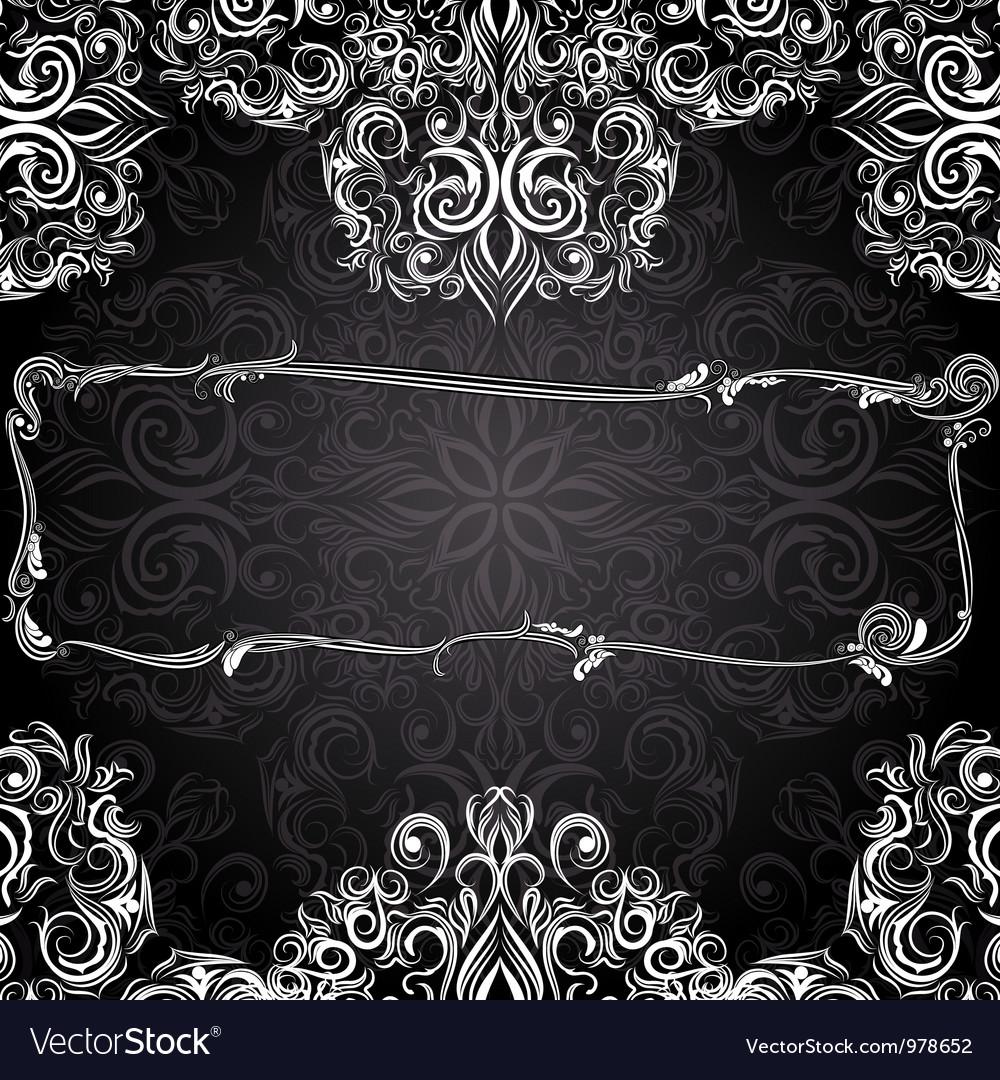 Romantic black and white vintage invitation vector | Price: 1 Credit (USD $1)