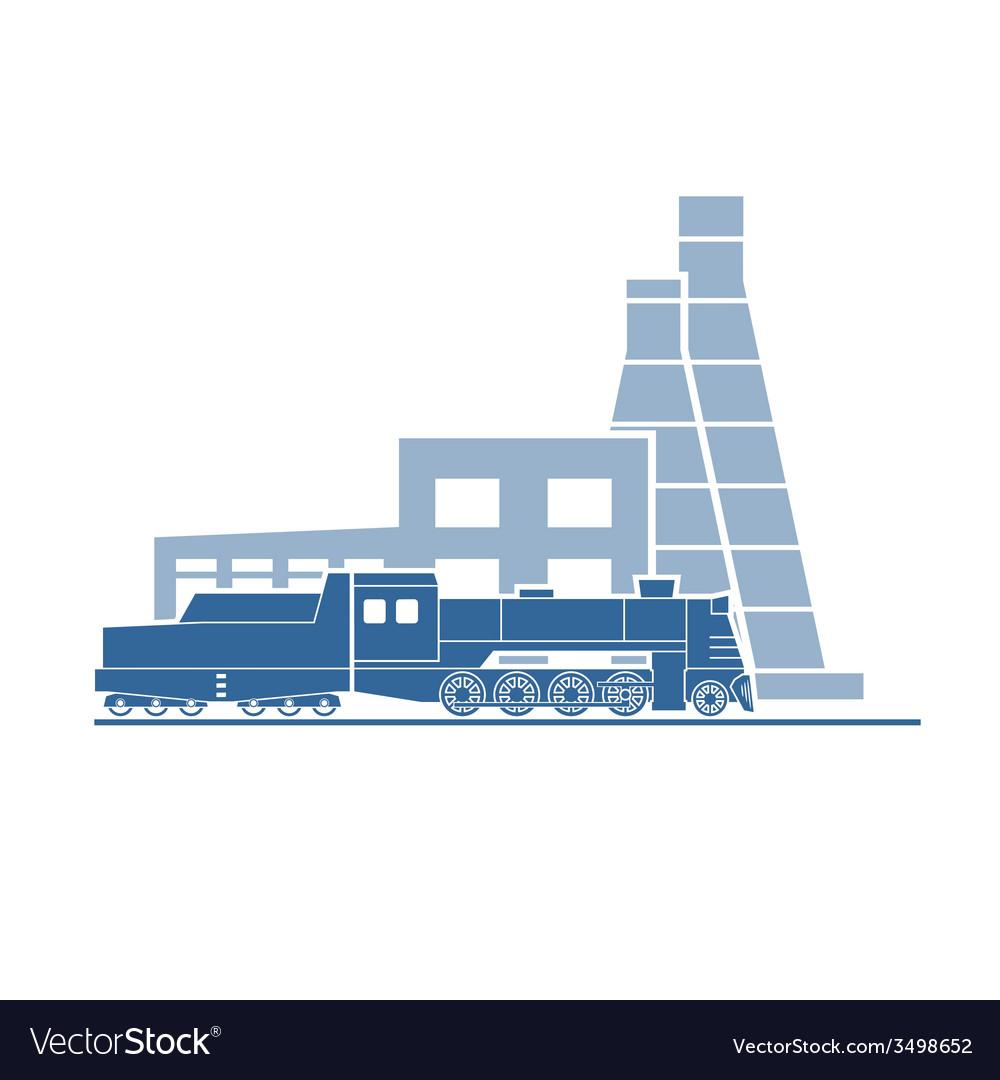 Steam locomotive at industrial plant vector   Price: 1 Credit (USD $1)