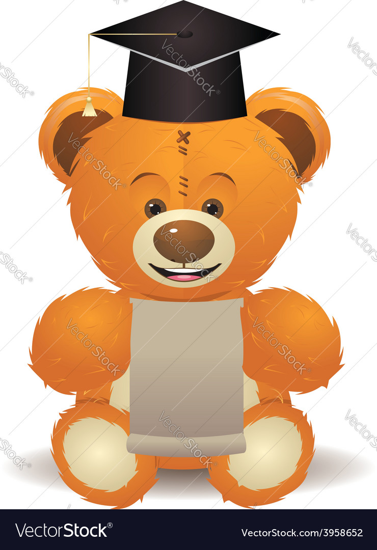 Teddy bear in graduation hat vector | Price: 1 Credit (USD $1)
