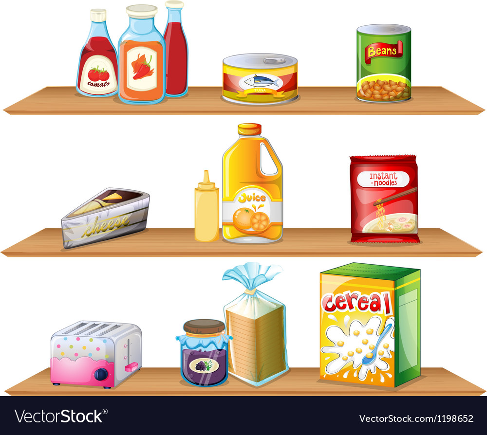 Three wooden shelves vector | Price: 1 Credit (USD $1)