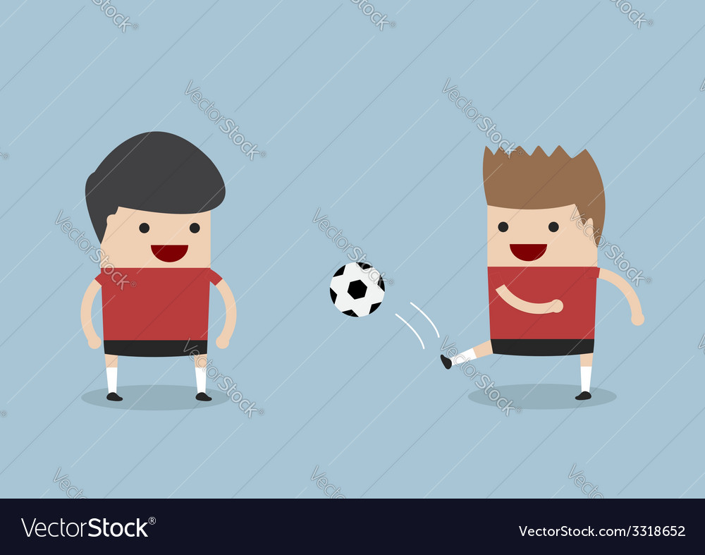Two men playing soccer or football vector | Price: 1 Credit (USD $1)