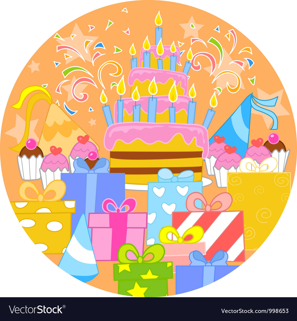 Big birthday cake and decorations vector | Price: 3 Credit (USD $3)