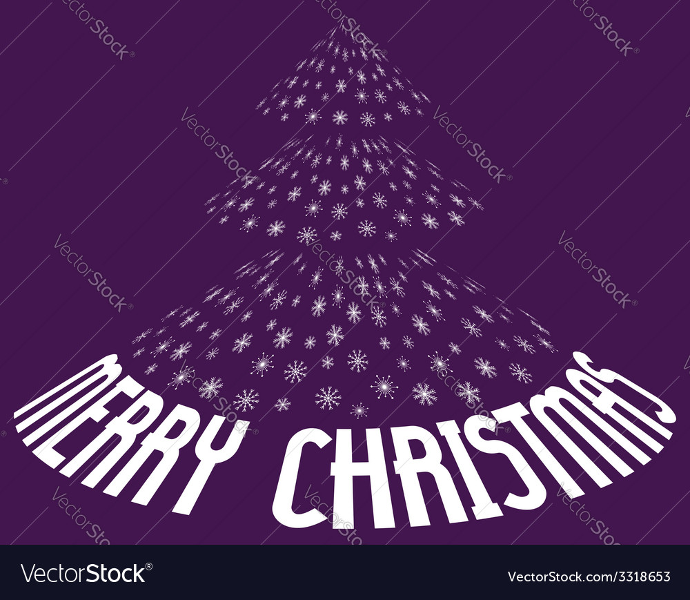 Christmas tree from snowflakes with text vector | Price: 1 Credit (USD $1)