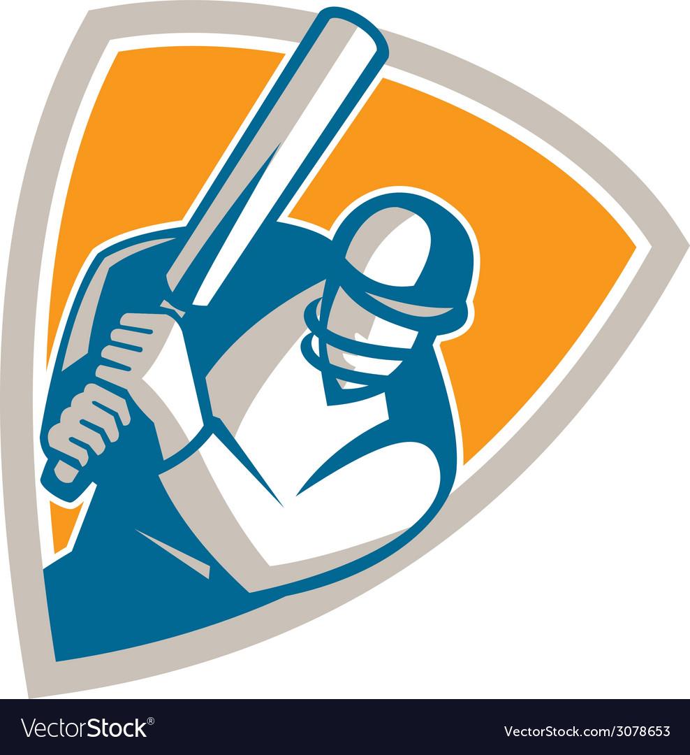 Cricket player batsman batting shield retro vector   Price: 1 Credit (USD $1)