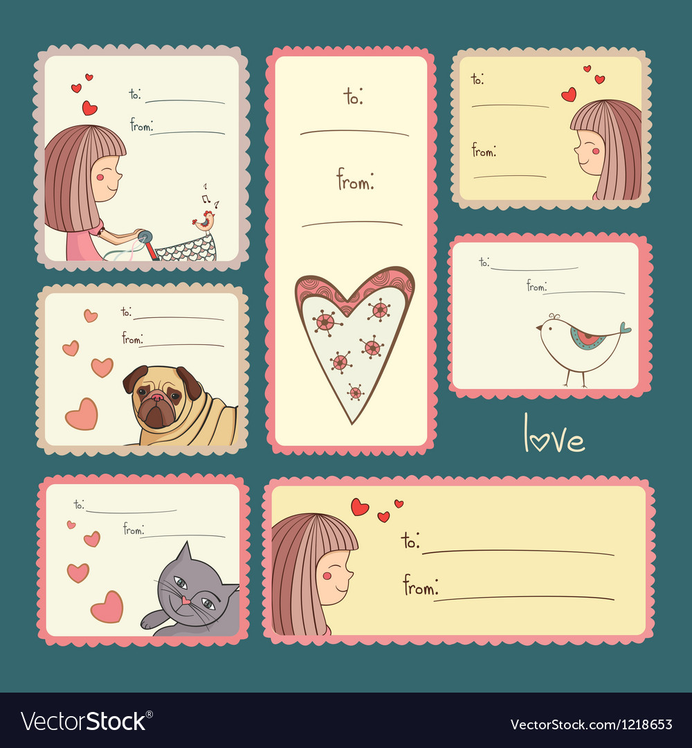 Gift tags with love on turquoise background vector | Price: 3 Credit (USD $3)
