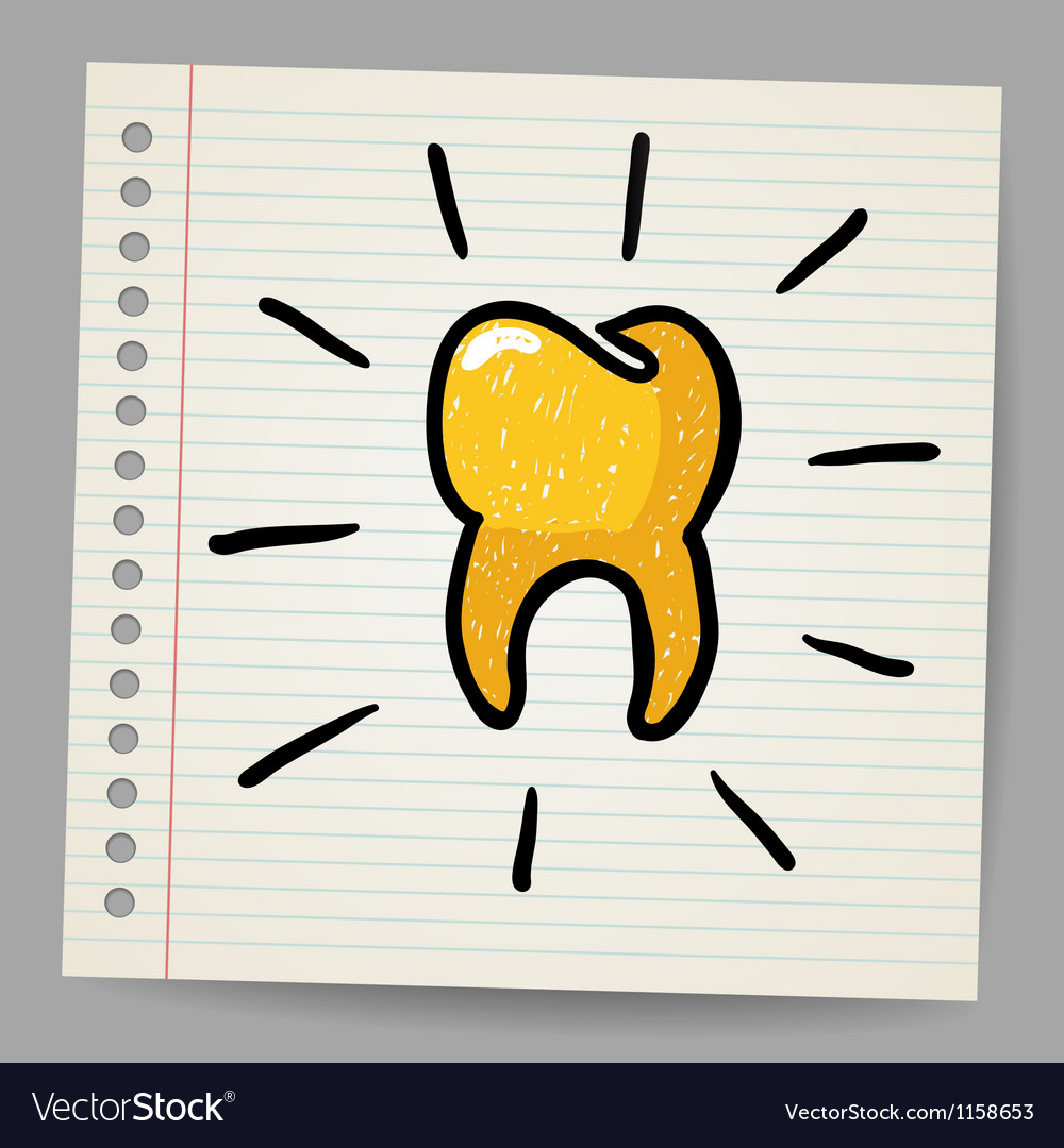 Gold tooth doodle vector | Price: 1 Credit (USD $1)