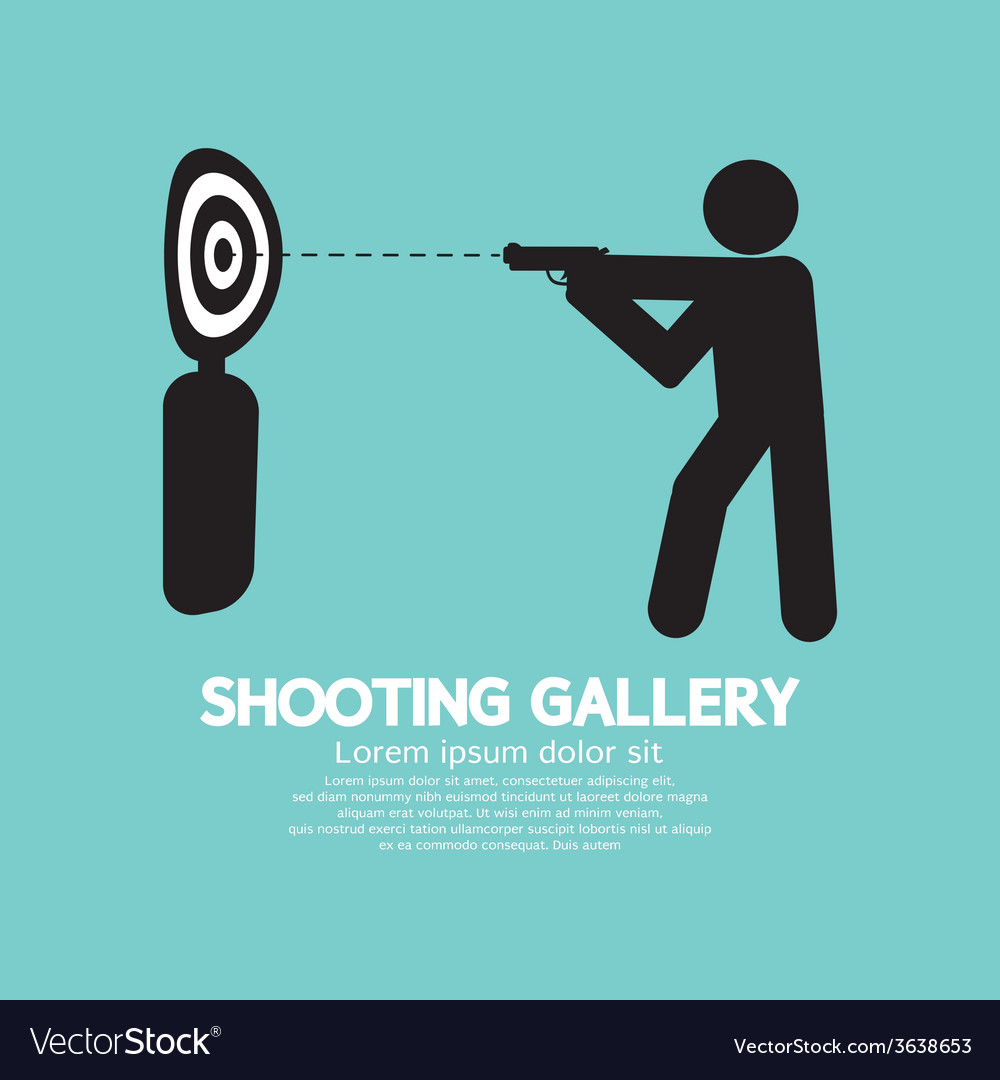 Gun athlete at shooting gallery symbol vector | Price: 1 Credit (USD $1)