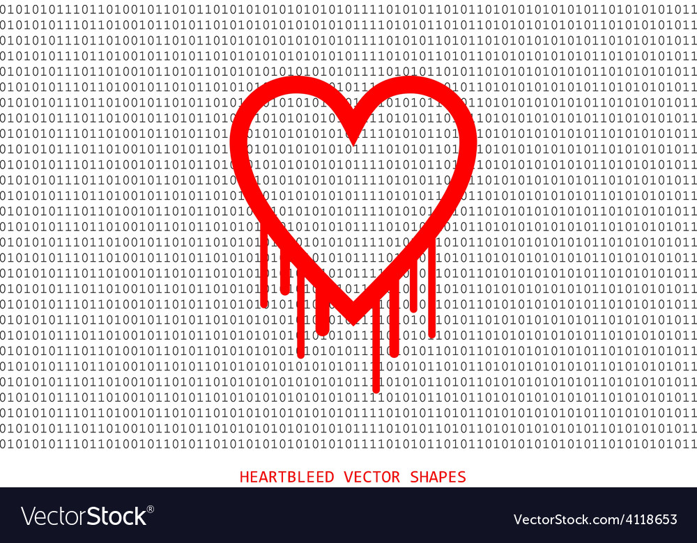 Heartbleed openssl bug shape bleeding heart vector | Price: 1 Credit (USD $1)