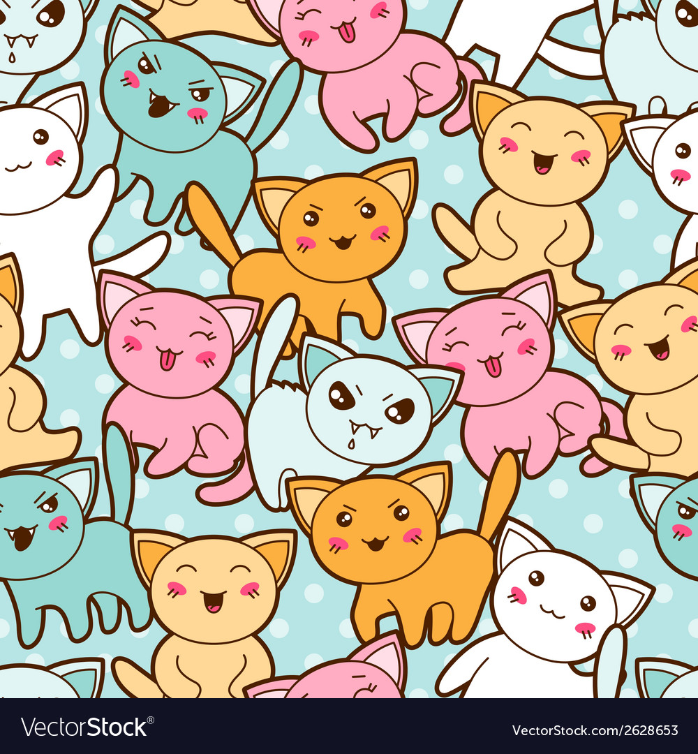 Seamless kawaii cartoon pattern with cute cats vector | Price: 1 Credit (USD $1)