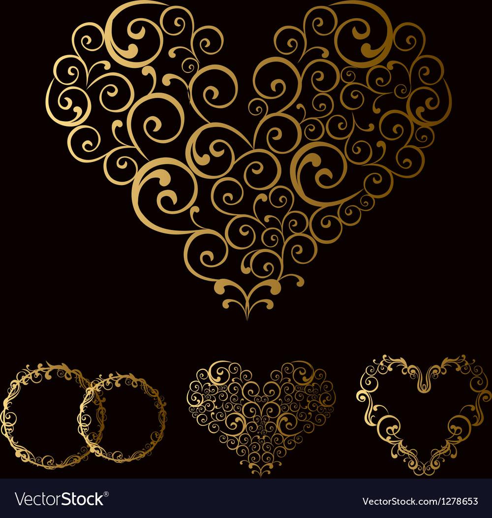 Tracery wedding love heart vector | Price: 1 Credit (USD $1)