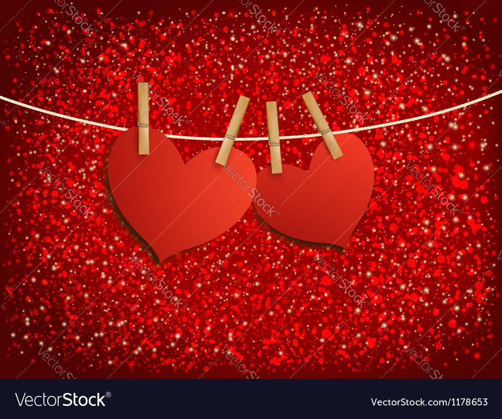 Two red loving hearts hanging on a rope vector | Price: 1 Credit (USD $1)