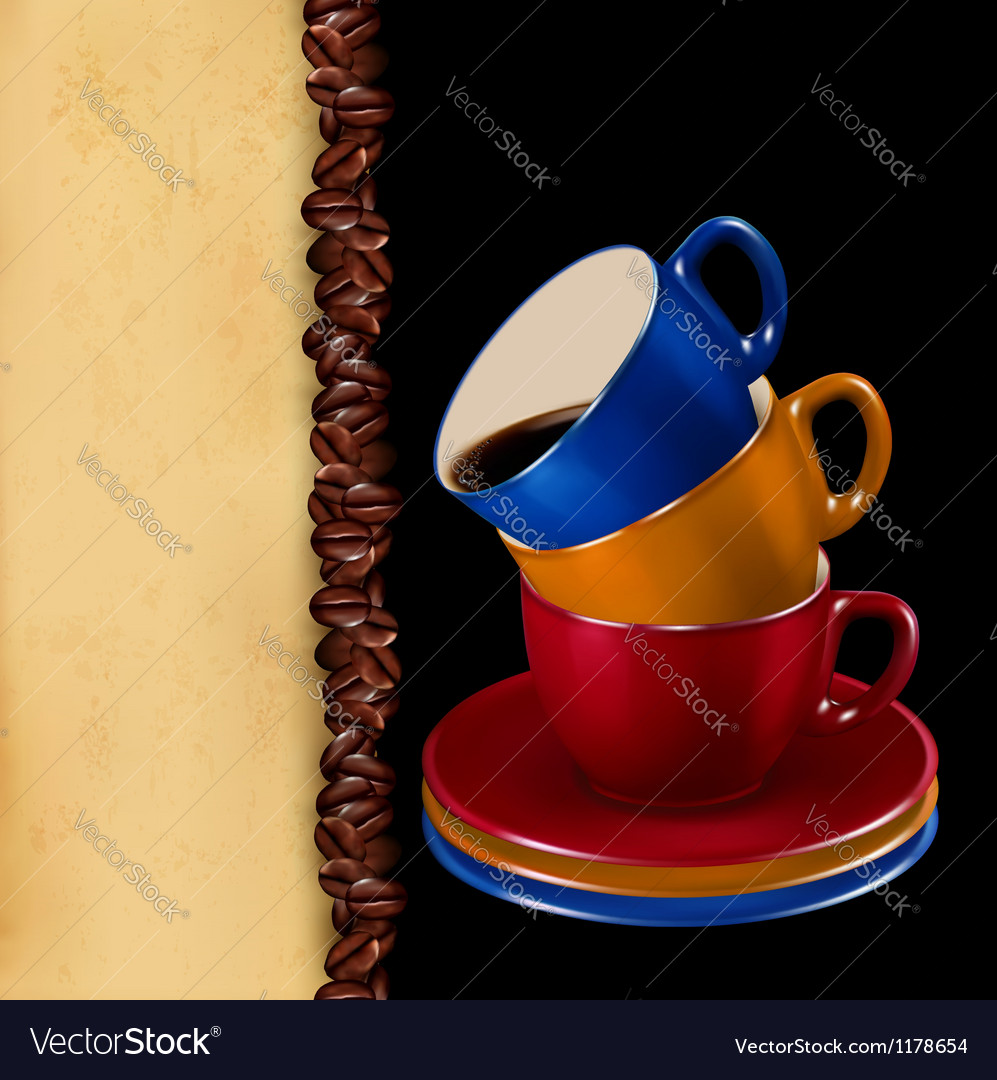Background with colorful cups of coffee and old vector | Price: 3 Credit (USD $3)