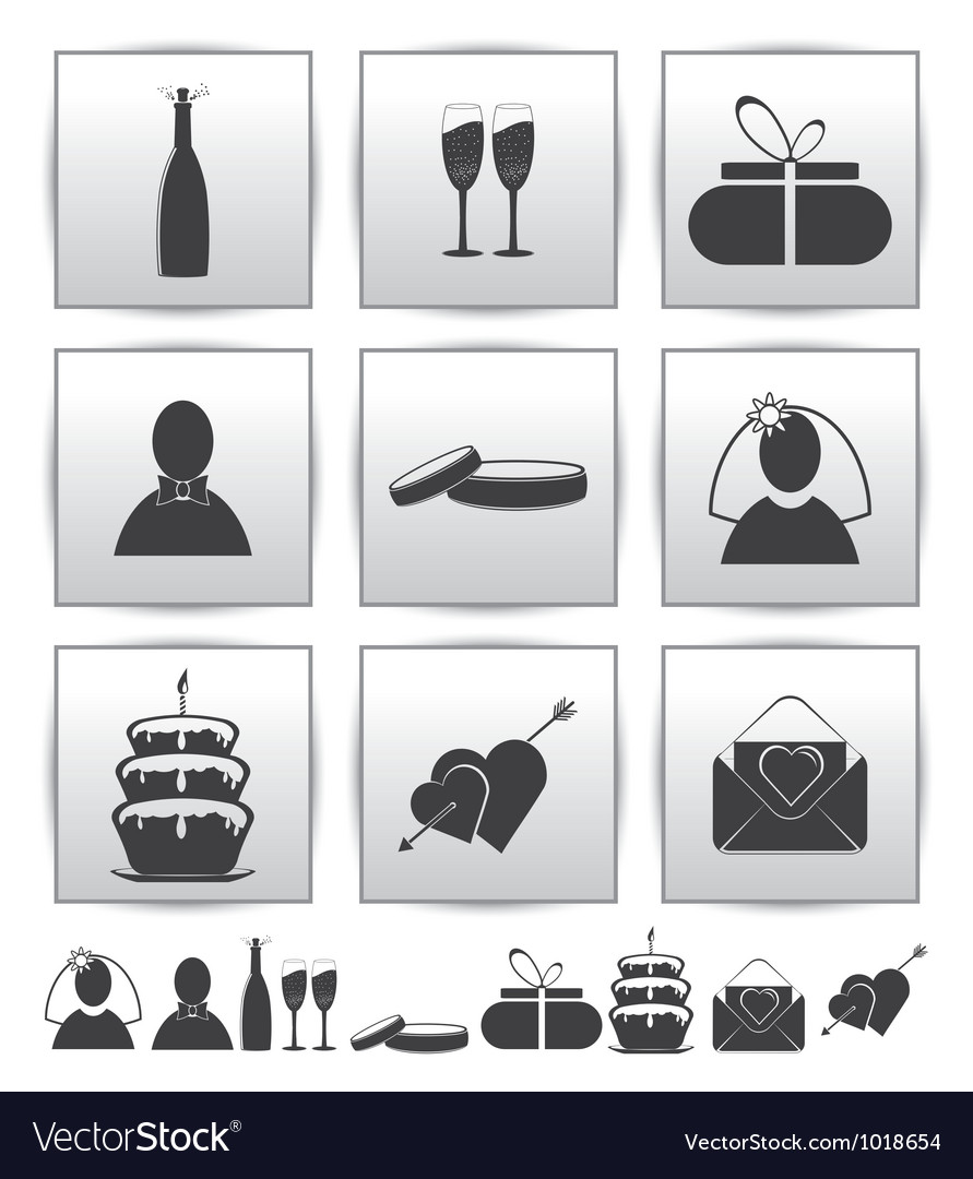Collection web icon set wedding gift vector | Price: 1 Credit (USD $1)