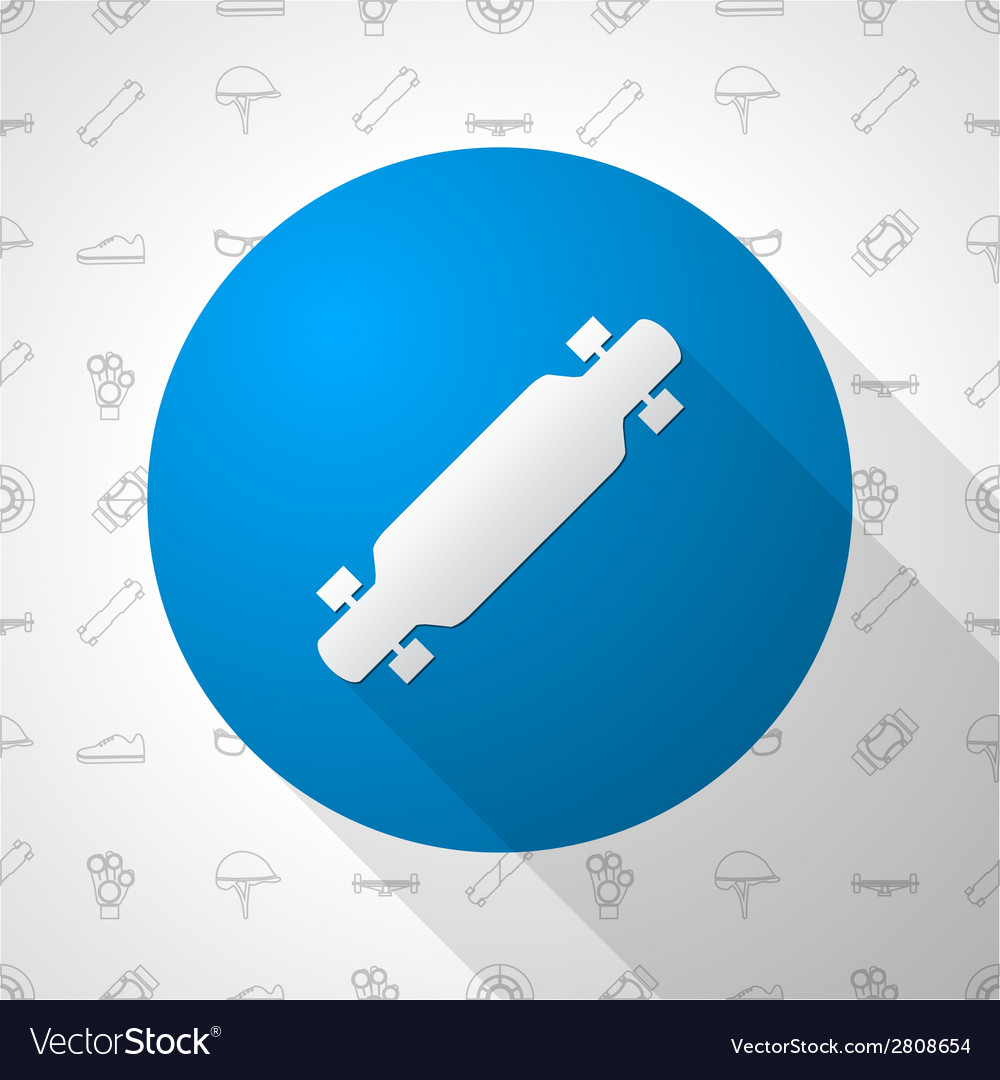 Flat circle icon for longboard vector | Price: 1 Credit (USD $1)